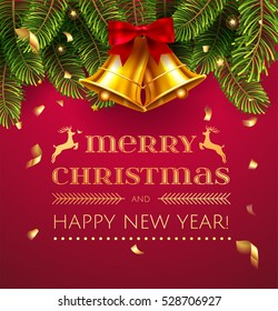 Merry Christmas and Happy New Year greeting card with Chrirstmas decorations fir tree border, gold bell and confetti . Red and green and gold christmas classic colors Vector illustration. EPS 10