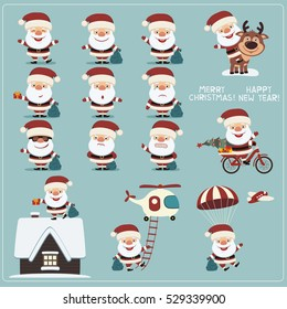 Merry Christmas and Happy New Year! Big set of funny Santa Claus in different poses, on house, fly parachute, helicopter.