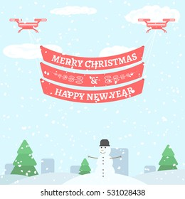 Merry Christmas and Happy New Year greeting. Holiday vector illustration. Greeting banner hanging on two drones in country.