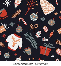 Merry Christmas and Happy New Year 2017. Christmas season hand drawn seamless pattern. Vector illustration.Scandinavian style. Decorations. Winter holiday backgrounds for design.