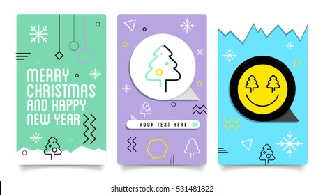 Merry Christmas and Happy New Year mobile banners and vector illustration. Modern Holiday postcard with calligraphic text. Modern graphic banner and poster template easy editable for Your deign.