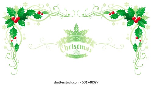 merry christmas happy new year holly horizontal corner border banner holly berry text lettering