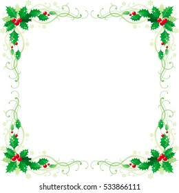 Merry Christmas and Happy new Year square corner banner frame border with holly berry leafs. Isolated on white background. Abstract poster, greeting card design template. Vector illustration eps