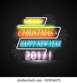 Merry Christmas and Happy New Year 2017 glossy and colorful Design Template. Creative line banner for sale, advertising, greeting cards. EPS10 Vector Illustration.