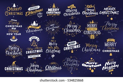 Merry Christmas and Happy New Year 2017 typographic emblems set. logo, text design. Usable for banners, greeting cards, gifts etc.