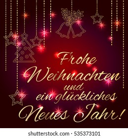 Merry christmas happy new year card stock vector royalty free card template with greetings in german language luxury m4hsunfo