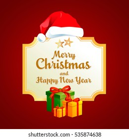 Merry Christmas and Happy New Year Card, Lettering and Flyer Vector Design Eps 10