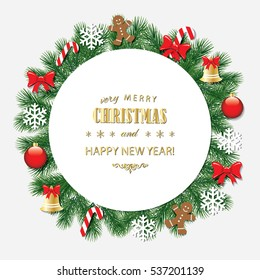 Merry Christmas and Happy New Year. Can be used for greeting cards and banners. Decorative frame with text. Traditional red and gold colors.