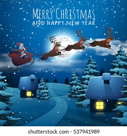 Merry Christmas and Happy New Year card. Santa Claus Flying on a Sleigh with Deer. Christmas houses in snowfall night. Winter village xmas poster. Vector Illustration Background in Cartoon Style.