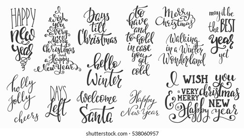 Merry Christmas Happy New Year Simple Stock Vector (Royalty Free ...