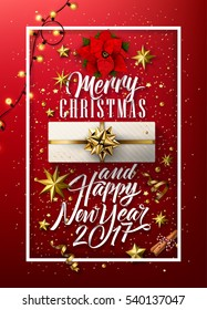 Merry Christmas And Happy New Year Everyone, Vintage Background With Typography and Elements