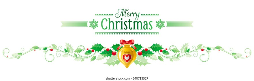 Merry Christmas, Happy new Year horizontal border banner, holly berry, xmas tree decoration. Text lettering logo. Isolated white background. Abstract poster, greeting card design. Vector illustration