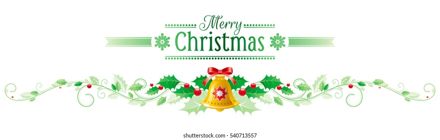 merry christmas happy new year horizontal banner holly berry jingle bell bow - Merry Christmas And Happy New Year Clip Art