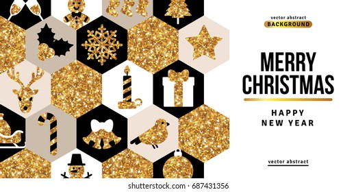 Merry Christmas and Happy New Year Greeting Card with White, Black and Gold Mosaic. Vector Illustration. Xmas Flyer Design, Brochure Cover, Poster. Minimalistic Invitation with Icons