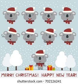 Merry christmas and Happy new year! Collection isolated heads of koala in red hat in cartoon style.