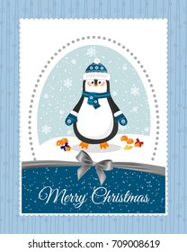 Merry christmas and a happy new year. Lovely postcard with a penguin in a hat.