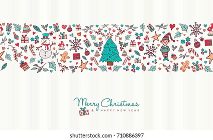 Merry Christmas and happy new year greeting card design with hand drawn holiday icon seamless pattern. Includes animals, snowman, winter decoration. EPS10 vector.