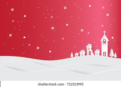 Merry Christmas and Happy New Year. Christmas background with night city landscape. Paper art style.