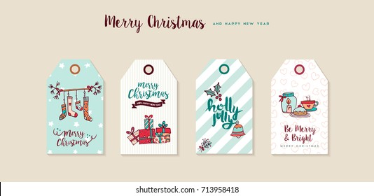 Merry Christmas Happy New Year hand drawn label tag set. Includes xmas socks, gift boxes, holiday decoration and typography quotes. EPS10 vector.