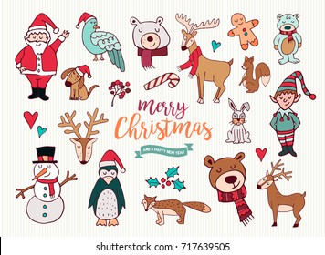 Merry Christmas Happy New Year cute festive cartoon element collection. Set of hand drawn holiday decoration, includes santa claus, xmas reindeer and snowman. EPS10 vector.
