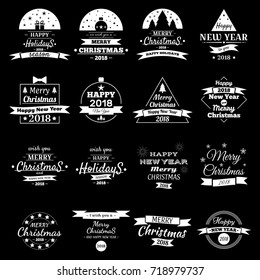 Merry Christmas & Happy New Year, 2018. Typography set. Vector logos, emblems, text design. Usable for banners, greeting cards, gifts etc.