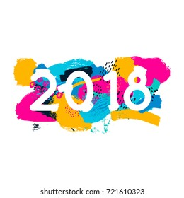 merry christmas and happy new year lettering color spots abstraction 2018 invitation