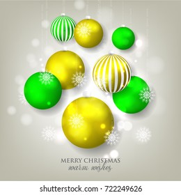 Merry Christmas and Happy new year greeting card or party invitation template for winter holiday with toys colorful ball