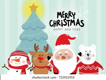 Merry Christmas and happy new year greeting card with cute Santa Claus, reindeer, polar bear and snowman. Holidays cartoon character vector set.