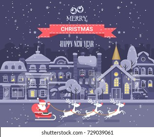 Merry Christmas and Happy New Year vector greeting card in flat style. Winter city with snowflakes and cute houses.
