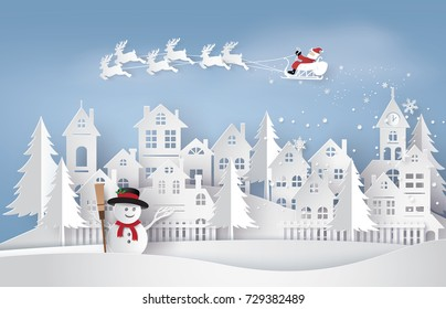 Merry Christmas and Happy New Year. Illustration of Santa Claus on the sky coming to City ,paper art and digital craft style