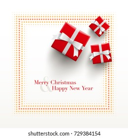 Merry Christmas and Happy New Year Card design. Red gift boxes with dotted frame on white background.