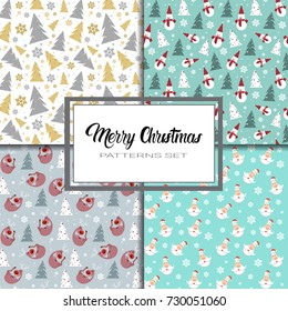 Merry Christmas And Happy New Year Seamless Pattern Winter Holidays Ornament Wrapping Paper Background Concept Vector Illustration