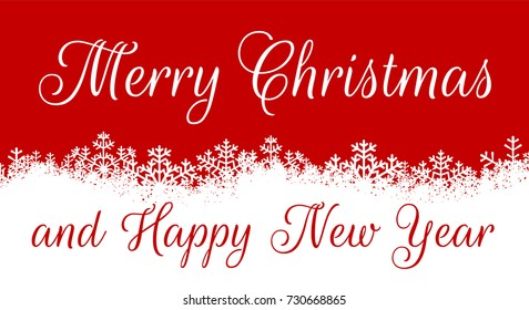 merry christmas and happy new year christmas card with white snowflakes border