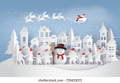 Merry Christmas and Happy New Year. Illustration of Santa Claus on the sky coming to City with happy family dance around snowman,paper art and  digital craft style