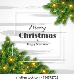Merry Christmas and happy new year design, fur-tree decoration with glowing lights and white frame. Vector illustration.