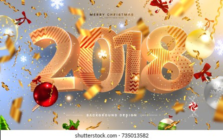 Merry Christmas and Happy New Year 2018 decorations | Greeting card vector template | Gold foil confetti, ribbons and glitter | Holiday illustration for posters, placards, banners and flyers