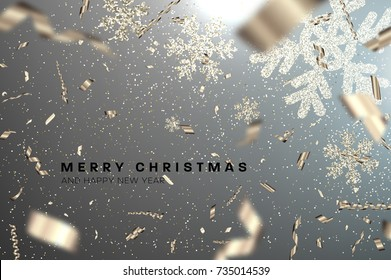 Merry Christmas and Happy New Year greeting vector illustration with glitters, foil, confetti, sparkles and glowing snowflakes for holiday posters, placards, banners, flyers and brochures