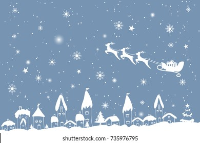 Merry Christmas and Happy New Year. Illustration of Santa Claus and gift boxes on the sky coming to village presents in snow landscape.