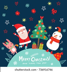 Merry Christmas and Happy New Year. Poster. Holidays card