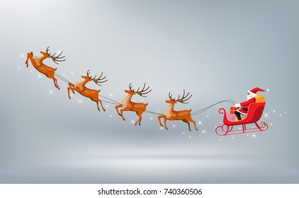 Merry Christmas and Happy New Year, Santa Claus drives sleigh with reindeer isolated, flat cartoon style, vector illustration