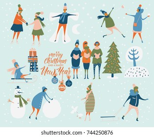 Merry Christmas and happy New year vector greeting card with winter games and people. Celebration template with playing cute people in vintage style.