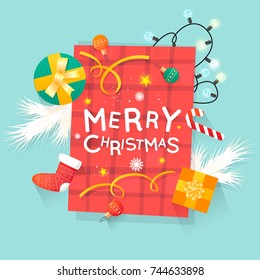 Merry Christmas and Happy New Year. New Year's toys, gifts on the table top view and text. Postcard, banner, printed matter, greeting card. Flat design.
