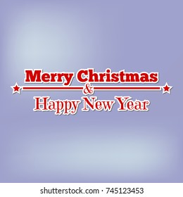 merry christmas and happy new year red inscription in paper style, design on greeting card on blue background.