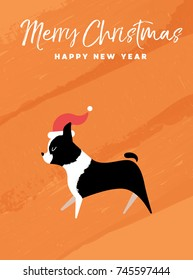 Merry Christmas and Happy New Year holiday greeting card illustration. Funny Boston Terrier dog with Santa Claus hat on colorful texture background. EPS10 vector.
