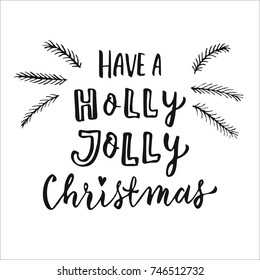 Merry Christmas and Happy New Year 2018 hand drawn lettering. Modern brush calligraphy for greeting cards, posters, apparel template, home decor. Hello Winter, Holly Jolly, Merry and Bright quote.