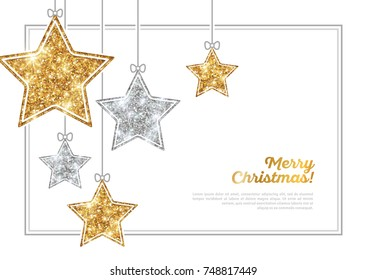 Merry Christmas and Happy New Year Banner with Frame. Glitter Background with Silver and Gold Hanging Stars. Vector illustration. Sequins Pattern. Glowing Invitation Template.