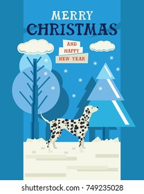 Merry Christmas and Happy New Year Design card with Dalmatian