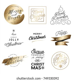 Merry Christmas & Happy New Year Typography Set with Gold