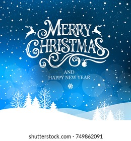 Merry Christmas and Happy New Year  typography vector design for greeting cards and poster. Merry Christmas hand lettering. Christmas  with winter landscape with snowflakes,light. Vector illustration.