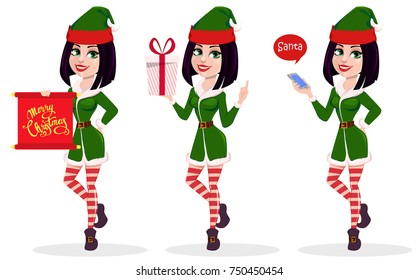 Merry Christmas and Happy New Year. Elf woman, set of three poses. Happy smiling cartoon character. Vector illustration on white background
